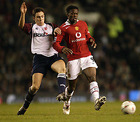 Fotball<br /> FA-cup 2005<br /> Manchester United v Middlesbrough<br /> 29. januar 2005<br /> Foto: Digitalsport<br /> NORWAY ONLY<br /> United's louis Saha and Boro's Stuart Downing