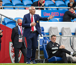 CARDIFF, WALES - Saturday, June 5, 2021: Albania's head coach Edoardo Reja during an International Friendly between Wales and Albania at the Cardiff City Stadium in their game before the UEFA Euro 2020 tournament. (Pic by David Rawcliffe/Propaganda)