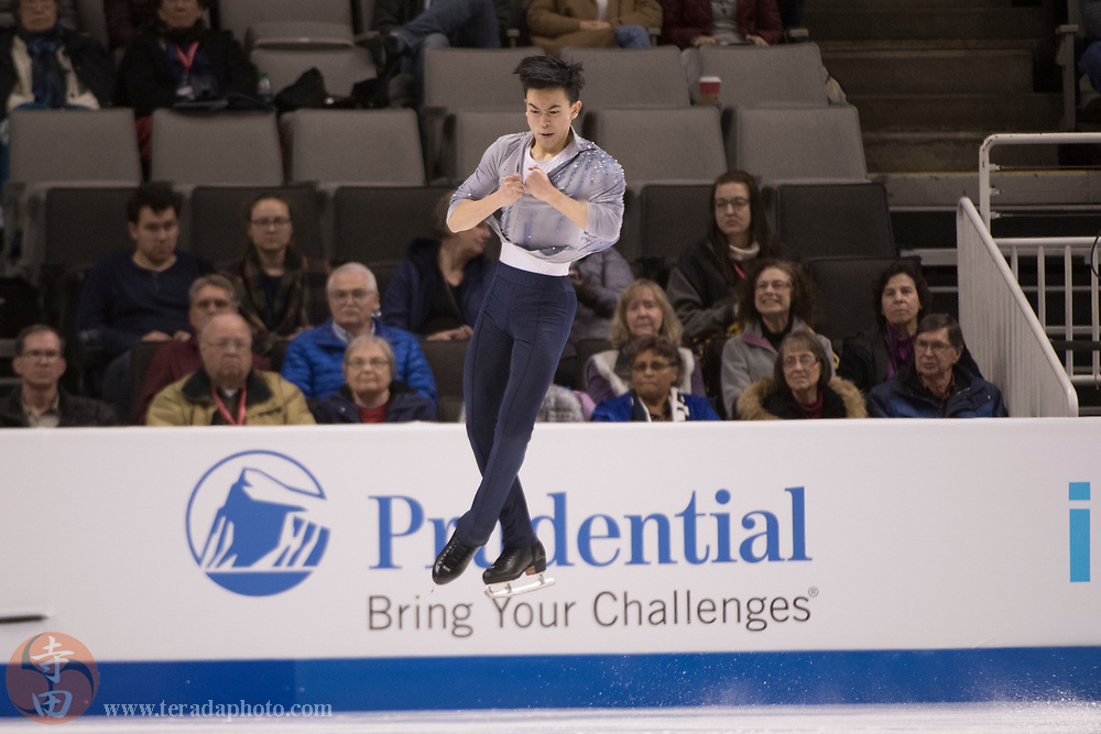 January 4, 2018; San Jose, CA, USA; Vincent Zhou in the mens short program during the 2018 U.S. Figure Skating Championships at SAP Center.