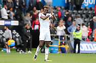 Tammy Abraham of Swansea city applauds the fans at the end of the game. Premier league match, Swansea city v Watford at the Liberty Stadium in Swansea, South Wales on Saturday 23rd September 2017.<br /> pic by  Andrew Orchard, Andrew Orchard sports photography.