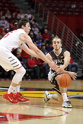 29 December 2014:  Justin McCloud, Grant Meyer during an NCAA non-conference interdivisional exhibition game between the Quincy University Hawks and the Illinois State University Redbirds at Redbird Arena in Normal Illinois.