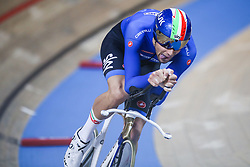 March 1, 2019 - Pruszkow, Poland - Filippo Ganna (ITA) competes in the Men's Individual Pursuit Qualifying race on day three of the UCI Track Cycling World Championships held in the BGZ BNP Paribas Velodrome Arena on March 01, 2019 in Pruszkow, Poland. (Credit Image: © Foto Olimpik/NurPhoto via ZUMA Press)