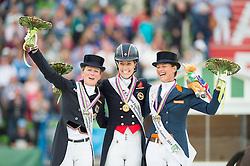 Charlotte Dujardin, (GBR), Langehanenberg Helen, (GER), Adelinde Cornelissen, (NED) - Freestyle Grand Prix Dressage - Alltech FEI World Equestrian Games™ 2014 - Normandy, France.<br /> © Hippo Foto Team - Jon Stroud<br /> 25/06/14