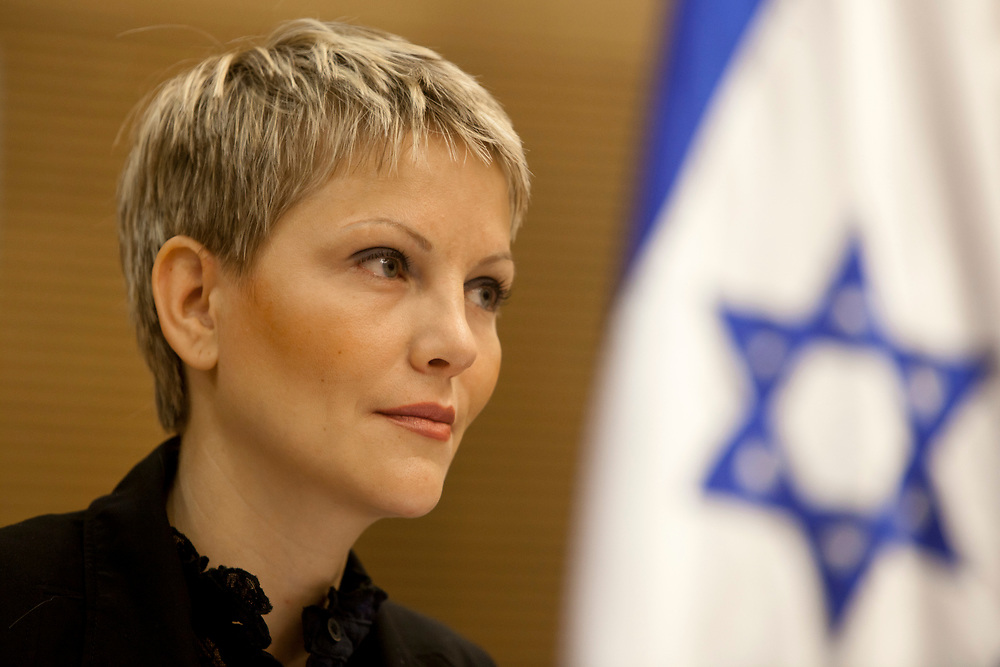 Israeli lawmaker, Knesset Member Anastassia Michaeli of the Israeli right-wing party Yisrael Beiteinu attends a session of the Education, Culture, and Sports Committee at the Knesset, Israel's parliament in Jerusalem, on May 15, 2012.