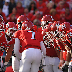 Oct 10, 2009; Piscataway, NJ, USA; The Rutgers offense huddles during first half NCAA college football action between Rutgers and Texas Southern at Rutgers Stadium.