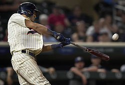 September 13, 2017 - Minneapolis, MN, USA - The Minnesota Twins' Eddie Rosario hits a walk-off two-run home run in the 10th inning against the San Diego Padres on Wednesday, Sept. 13, 2017, at Target Field in Minneapolis. The Twins won, 3-1, in 10 innings. (Credit Image: © Carlos Gonzalez/TNS via ZUMA Wire)