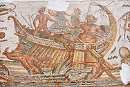 Roman mosaic depicting Dionysus repelling pirates from his ship.  He is accompanied by Acoetes, the helmsman and his tutor Silenus, right. Dionysus, in the form a panther, centre,  is repelling pirates from his ship who turn into dolphins as they jump overboard . Dated from the reign of Emperor Gallienus, 260-280 AD from the the house of Dionysus and Ulysses, Dougga. Roman mosaics from the north African Roman province of Africanus . Inv 2884B Bardo Museum, Tunis, Tunisia. .<br /> <br /> If you prefer to buy from our ALAMY PHOTO LIBRARY  Collection visit : https://www.alamy.com/portfolio/paul-williams-funkystock/roman-mosaic.html - Type -   Bardo    - into the LOWER SEARCH WITHIN GALLERY box. Refine search by adding background colour, place, museum etc<br /> <br /> Visit our ROMAN MOSAIC PHOTO COLLECTIONS for more photos to download  as wall art prints https://funkystock.photoshelter.com/gallery-collection/Roman-Mosaics-Art-Pictures-Images/C0000LcfNel7FpLI