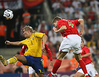 Photo: Chris Ratcliffe.<br /> Sweden v England. FIFA World Cup 2006. 20/06/2006.<br /> Steven Gerrard of England scores Englands second goal.