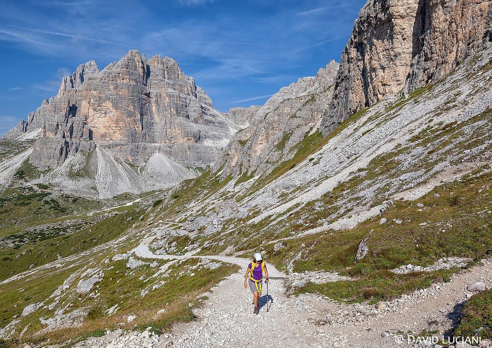 Lea, on a 15km hiking tour around Monte Paterno