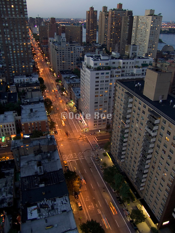 birds eye view of First Avenue and up town New York City