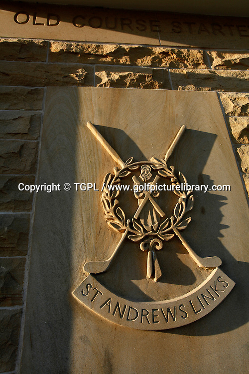 Coat of Arms on the Starters hut at the 1st tee at ST.ANDREWS Old Course,St.Andrews,Fife,Scotland.