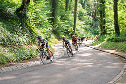 Stephanie Pohl leads her Cervélo Bigla teammate, Ashleigh Moolman Pasio through the trees at Boels Hills Classic 2016. A 131km road race from Sittard to Berg en Terblijt, Netherlands on 27th May 2016.