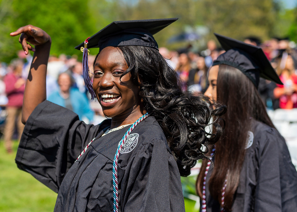 Soon-to-be Colgate graduates make their way to seats during the 198th Colgate commencement Sunday, May 19, 2019.<br /> Mark DiOrio / Colgate University