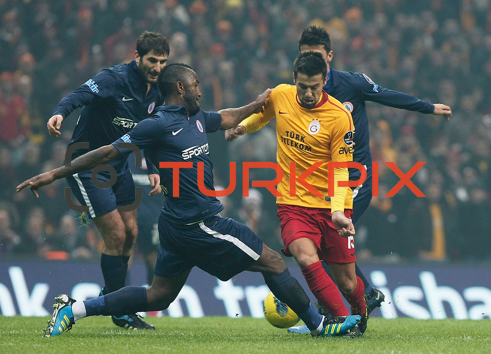 Galatasaray's Milan Baros (R) during their Turkish Super League soccer match Galatasaray between IBBSpor at the TT Arena at Seyrantepe in Istanbul Turkey on Tuesday, 03 January 2012. Photo by TURKPIX