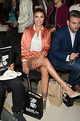© Licensed to London News Pictures. 17/09/2016.  OLIVIA BUCKLAND attends the ASHLEY ISHAM Spring/Summer 2017 show. Models, buyers, celebrities and the stylish descend upon London Fashion Week for the Spring/Summer 2017 clothes collection shows. London, UK. Photo credit: Ray Tang/LNP