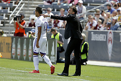 April 29, 2018 - Commerce City, Colorado - Colorado Rapids head coach Anthony Hudson calls out to his players in the first half of action in the MLS soccer game between Orlando City SC and the Colorado Rapids at Dick's Sporting Goods Park in Commerce City, Colorado (Credit Image: © Carl Auer via ZUMA Wire)