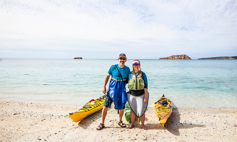 @amywormsworld and @TimothyMMcGuire ready to kayak after a snorkeling session. #TravelLifestyle #Portraits #OnTheBeach, Isla Espiritu Santo, day 2. #SpraySkirtsAreSexy