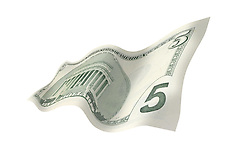 5 flat back 001 United States five dollar bill floating on air with a white background