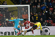 Troy Deeney of Watford (R) scores his team's second goal. The Emirates FA Cup, 3rd round match, Watford v Bristol City  at Vicarage Road in Watford, London on Saturday 6th January 2018.<br /> pic by Steffan Bowen, Andrew Orchard sports photography.