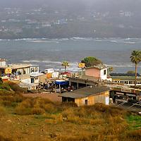 North America, Mexico, Baja California, Ensenada. A small town awaits tourists travelling along MX-1.