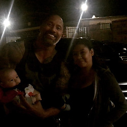 """Dwayne Johnson releases a photo on Instagram with the following caption: """"Alright alright.. when mama's and their little babies are waiting to meet me after work, I'll keep my a**hole persona at bay. \nTruth is, this stuff is always the best part of fame. Good to meet ya Iliana \u0026 Maddox! #SkyscraperMovie #LateNightLuv #Vancouver"""". Photo Credit: Instagram *** No USA Distribution *** For Editorial Use Only *** Not to be Published in Books or Photo Books ***  Please note: Fees charged by the agency are for the agency's services only, and do not, nor are they intended to, convey to the user any ownership of Copyright or License in the material. The agency does not claim any ownership including but not limited to Copyright or License in the attached material. By publishing this material you expressly agree to indemnify and to hold the agency and its directors, shareholders and employees harmless from any loss, claims, damages, demands, expenses (including legal fees), or any causes of action or allegation against the agency arising out of or connected in any way with publication of the material."""