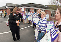 SEA President Diana Lacey talks with Belknap County Nursing Home employees on Monday afternoon prior to their contract vote.  (Karen Bobotas/for the Laconia Daily Sun)
