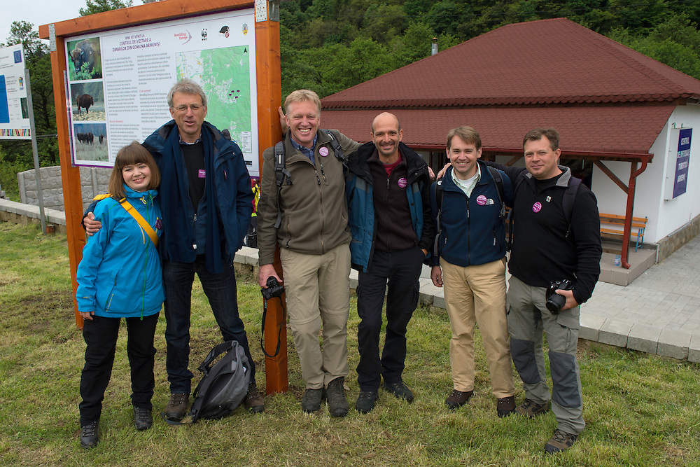Rewilding  Europe staff- from the central team and the Danube Delta team. Outside the Armenis Bison Centre, Release of European bison, Bison bonasus, in the Tarcu mountains nature reserve, Natura 2000 area, Southern Carpathians, Romania. The release was actioned by Rewilding Europe and WWF Romania in May 2014.