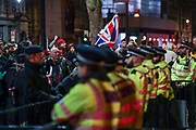 Police observe as Pro-Brexit supporters celebrate in London on Jan. 31, 2020 - as the UK leaves the European Union with 51. 9% of the UK population that voted to leave the EU in a referendum in June 2016. (Photo/Vudi Xhymshiti)