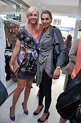 Left to right, AMANDA CRONIN and ASSIA WEBSTER at the opening of the new Melissa Odabash store in Walton Street, London SW3 on 7th July 2011.