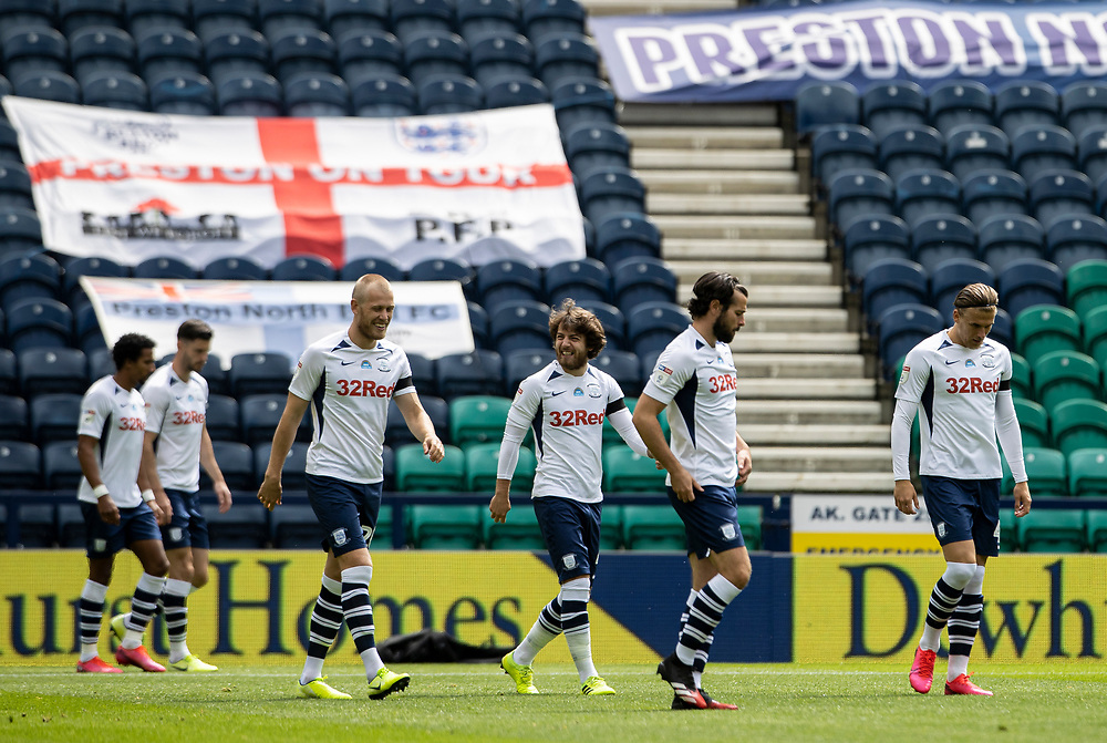 Preston North End's players take to the pitch<br /> <br /> Photographer Andrew Kearns/CameraSport<br /> <br /> The EFL Sky Bet Championship - Preston North End v Nottingham Forest - Saturday 11th July 2020 - Deepdale Stadium - Preston <br /> <br /> World Copyright © 2020 CameraSport. All rights reserved. 43 Linden Ave. Countesthorpe. Leicester. England. LE8 5PG - Tel: +44 (0) 116 277 4147 - admin@camerasport.com - www.camerasport.com