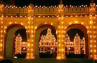 Maharaja's Palace lit at night, Mysore, Karnataka, India