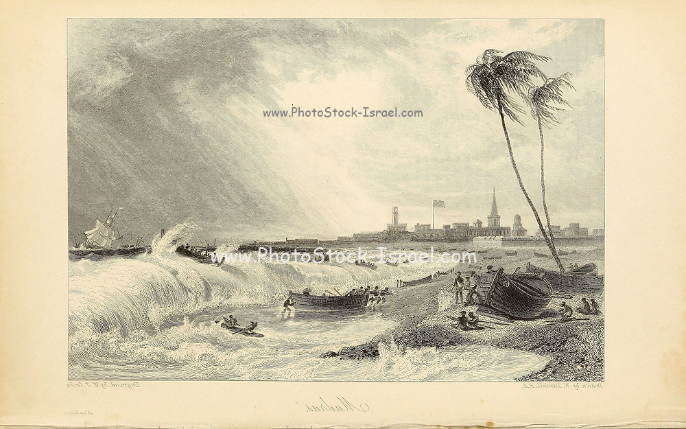 Setting In Of The Monsoon At Madras [A city in TamilNadu on the BayofBengal; formerly Madras] From the book ' The Oriental annual, or, Scenes in India ' by the Rev. Hobart Caunter Published by Edward Bull, London 1834 engravings from drawings by William Daniell