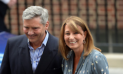 The Duchess of Cambridge's parents Carole and Michael Middleton leave the Lindo Wing of St Mary's Hospital in London, after meeting their new grandson.