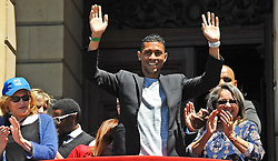 Cape Town-161017- Wayde van Niekerk greating fans at the Grand Parade when the Cape Town atheletes who took part in the Olympics and Paralympics were paraded.pic Phando Jikelo
