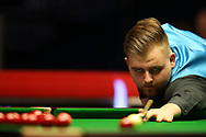 Jackson Page, the 16 year old amateur from South Wales during his 2nd round match against Stuart Bingham of England.  ManBetx Welsh Open Snooker 2018, day three at the Motorpoint Arena in Cardiff, South Wales on Wednesday 28th February 2018.<br /> pic by Andrew Orchard, Andrew Orchard sports photography.