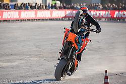 Stunters warm up at Motor Bike Expo. Verona, Italy. Friday January 20, 2017. Photography ©2017 Michael Lichter.