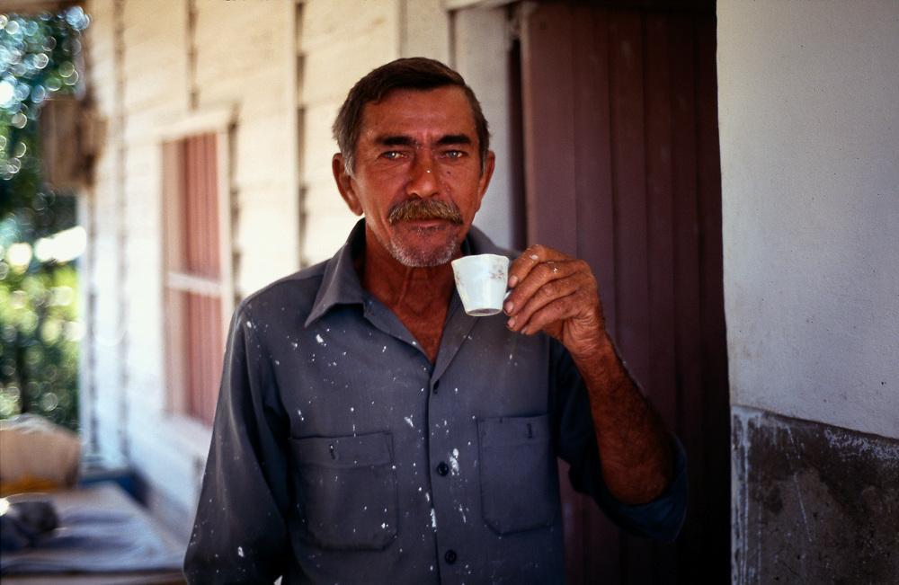 Tabacco farmer drinking expresso. Cuba,