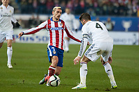 Atletico de Madrid's Griezmann and Real Madrid's Sergio Ramos during 2014-15 Spanish King Cup match at Vicente Calderon stadium in Madrid, Spain. January 07, 2015. (ALTERPHOTOS/Luis Fernandez)