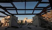 Construction crews work on the new Delmar-Tusa Fieldhouse, July 14, 2015.