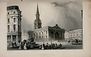 London St. Martin's Church, Trafalgar Square From the book Illustrated London, or a series of views in the British metropolis and its vicinity, engraved by Albert Henry Payne, from original drawings. The historical, topographical and miscellanious notices by Bicknell, W. I; Payne, A. H. (Albert Henry), 1812-1902 Published in London in 1846 by E.T. Brain & Co