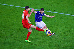 LIVERPOOL, ENGLAND - Monday, December 19, 2016: Liverpool's Adam Lallana in action against Everton's Leighton Baines during the FA Premier League match, the 227th Merseyside Derby, at Goodison Park. (Pic by Gavin Trafford/Propaganda)