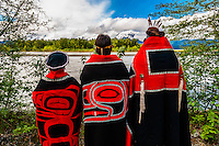 Tlingit Indians wearing theri regalia, Chilkat Indian village, Klukwan, near Haines, Alaska USA.