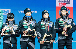 24.02.2019, Medal Plaza, Seefeld, AUT, FIS Weltmeisterschaften Ski Nordisch, Seefeld 2019, Skisprung, Herren, Teambewerb, Siegerehrung, im Bild Bronzemedaillengewinner Yukiya Sato, Daiki Ito, Junshiro Kobayashi, Ryoyu Kobayashi (JPN) // Yukiya Sato Daiki Ito Junshiro Kobayashi Ryoyu Kobayashi of Japan during the winner ceremony for the men's skijumping Team competition of FIS Nordic Ski World Championships 2019 at the Medal Plaza in Seefeld, Austria on 2019/02/24. EXPA Pictures © 2019, PhotoCredit: EXPA/ Stefan Adelsberger