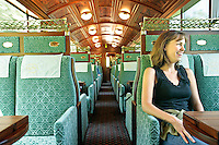 An inside view of The Golden Pass Classic Belle Epoque Style Train. A panoramic coach that runs from Montreux to Lucerne, Switzerland.