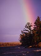 Rainbow above a stormy Kabetogama Lake, Voyageurs National Park, Minnesota.