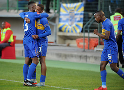 Cape Town-180224 Cape Town City players Teko Modise Craig Martin and Thabo Nodada celebrating after Craig scored  in their PSL game in Athlone Picture Ayanda Ndamane/African News Agency/ANA