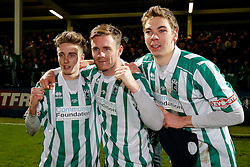 Goalscorers Jarrett Rivers and Stephen Turnbull of Blyth Spartans celebrate with Arran Wearmouth after their non league side win 1-2 to progress to the next round of hte FA Cup - Photo mandatory by-line: Rogan Thomson/JMP - 07966 386802 - 05/12/2014 - SPORT - FOOTBALL - Hartlepool, England - Victoria Park - Hartlepool United v Blyth Spartans - FA Cup Second Round Proper.