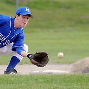 5/17/08 -- BATH, Maine. Morse second baseman Dylan Moreau takes the throw from the plate as Mt. Ararat's  the Morse hosted Mt. Ararat on Friday and lost. Photo by Roger S. Duncan.