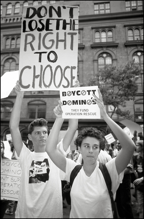 Rod Sorge and Zoe Leonard of ACT UP and other pro-choice activists clashed with anti-choice protestors in front of a Domino's Pizza store in the East Village in 1989.