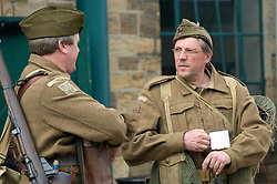 Re-enactors dressed as member of the British Home Guard take part in a living history dispay at the Elsecar Heritage Centre 1940s Wartime Weekend 4 September 2010 .Images © Paul David Drabble..